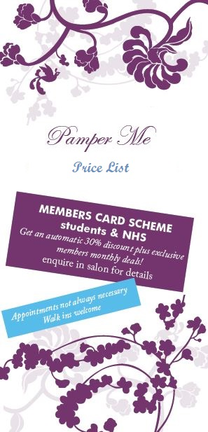 pamper me price list pic