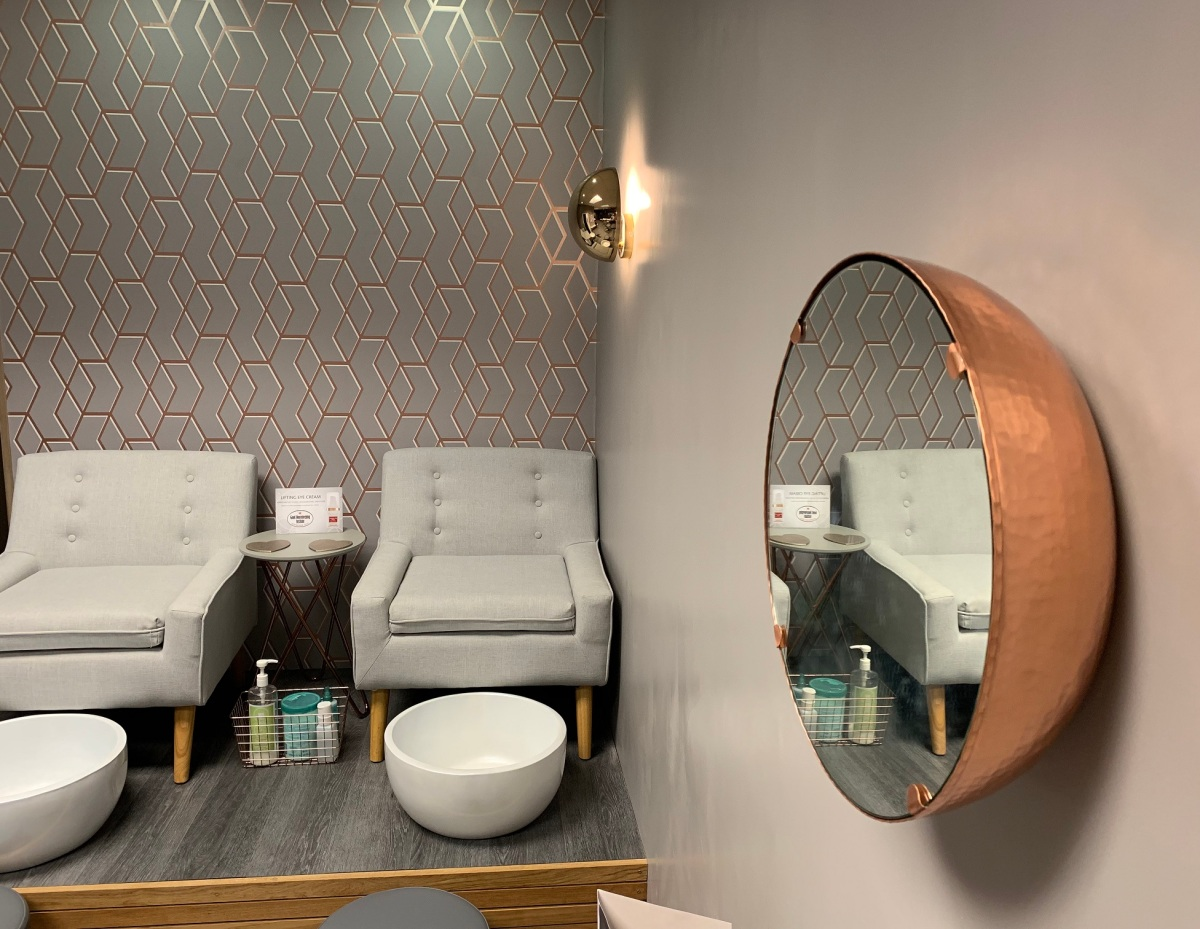 Scandinavian spa feel with copper accents