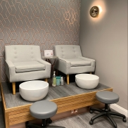 Luxury Pedicure Platform with White American oak and copper accents